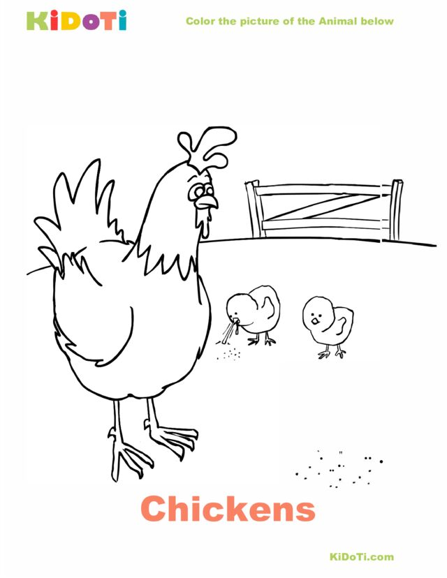 Chickens Coloring Page