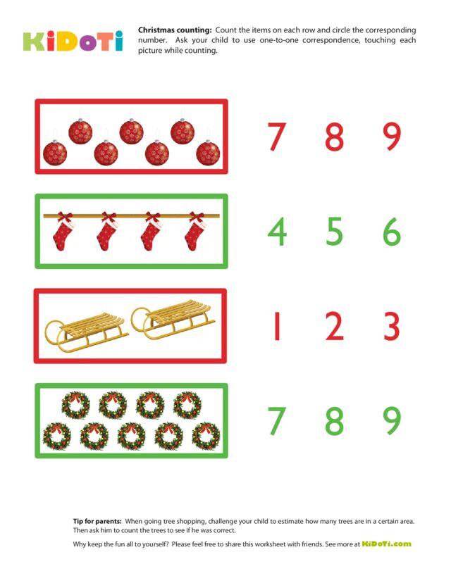 Christmas Counting Worksheet 1