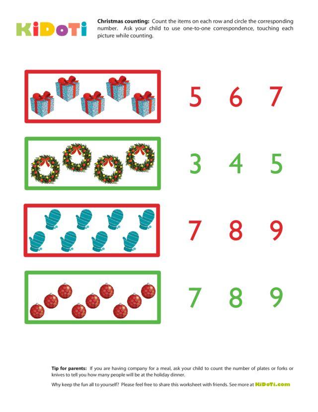 Christmas Counting Worksheet 3