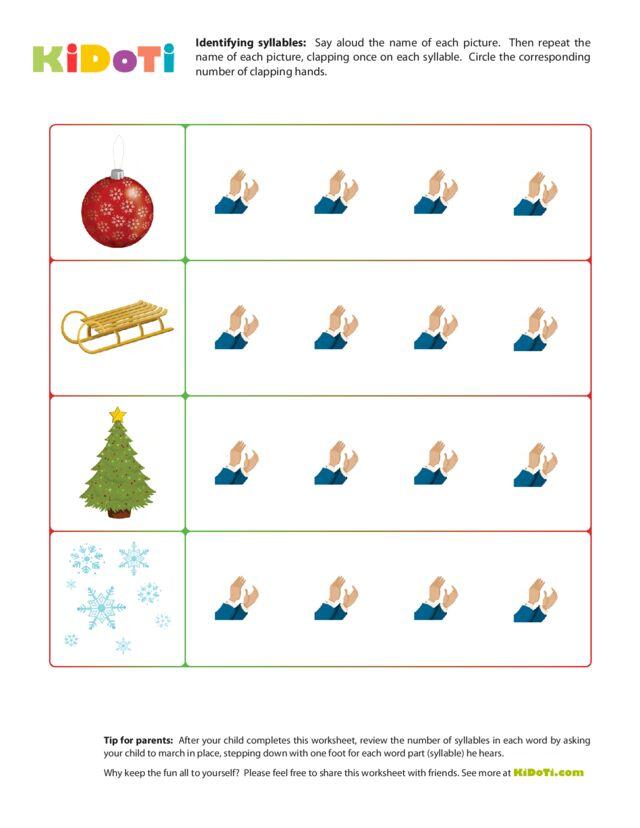 Christmas Syllabes Worksheet 1