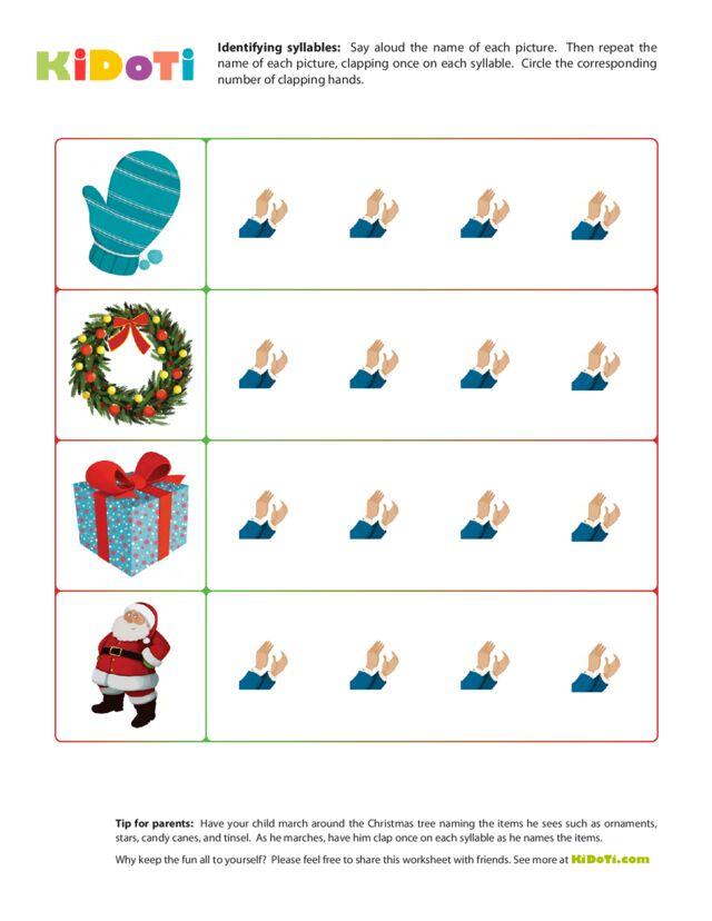 Christmas Syllabes Worksheet 2