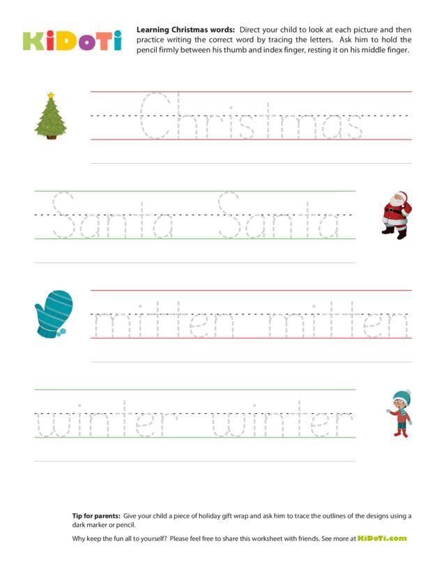 Christmas Tracing Words 1