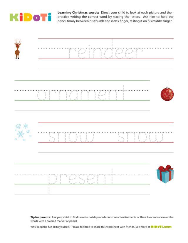 Christmas Tracing Words 2