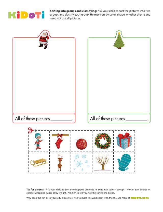 Christmas Worksheet  - Sorting into groups 1