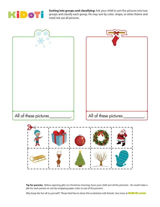 Christmas Worksheet - Sorting into groups 2