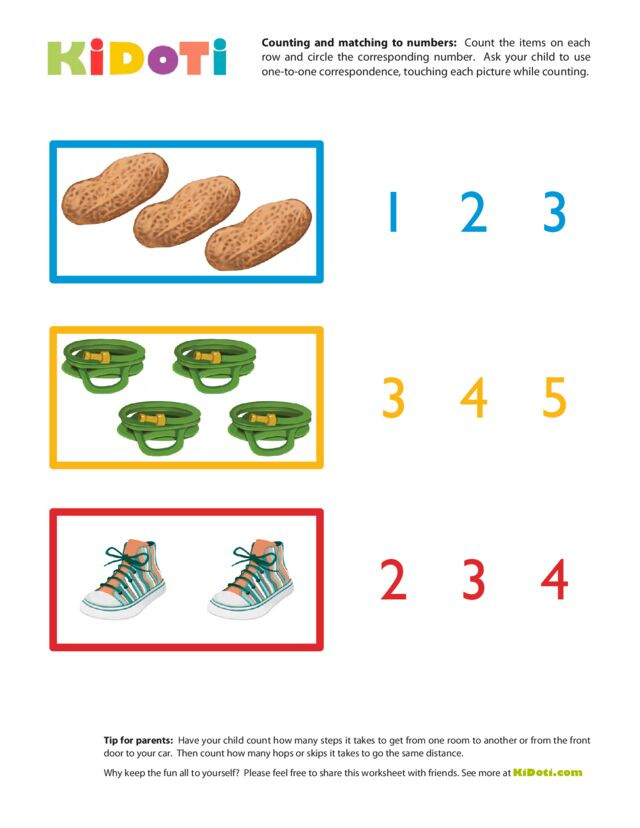 Counting and Matching to Numbers 1