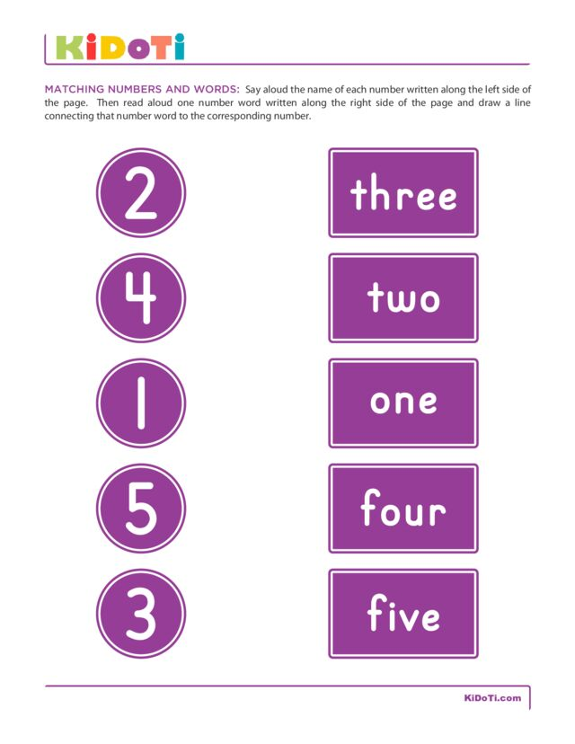 Matching Numbers and Words 1