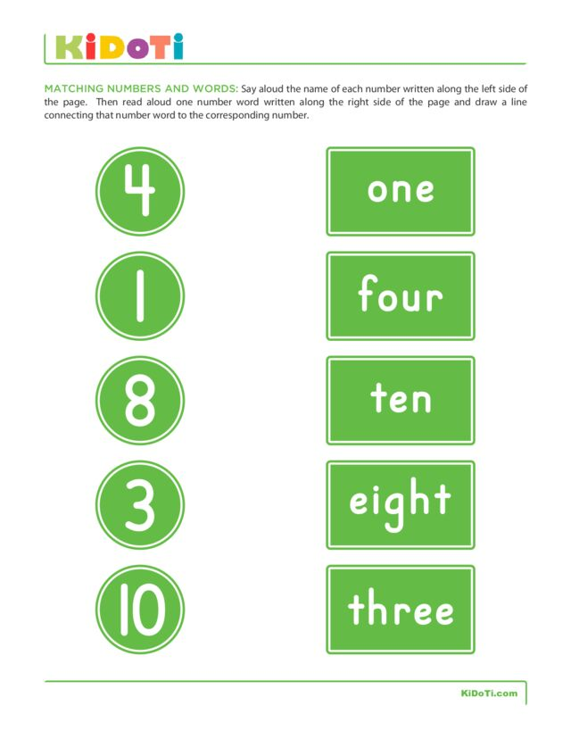 Matching Numbers and Words 2