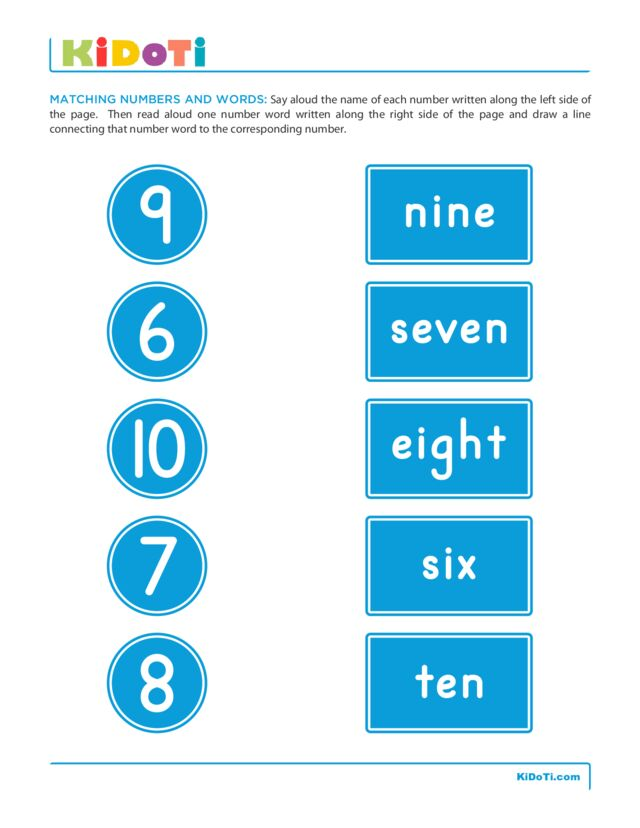 Matching Numbers and Words 3
