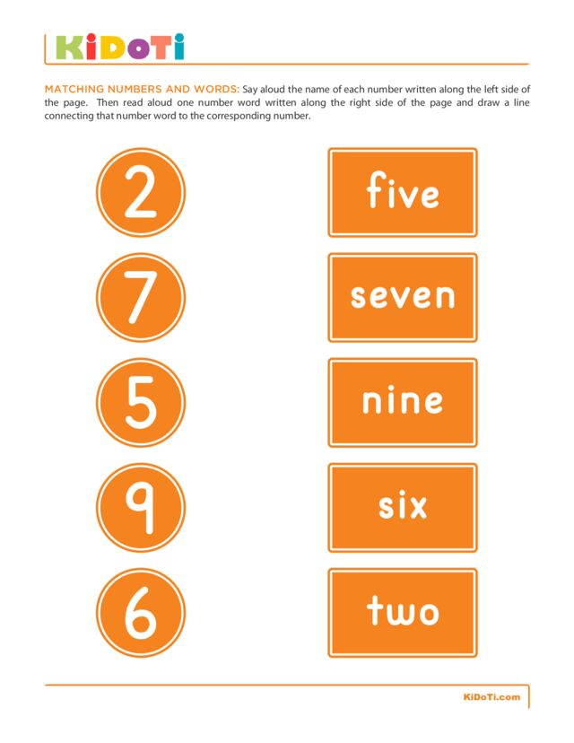 Matching Numbers and Words 4