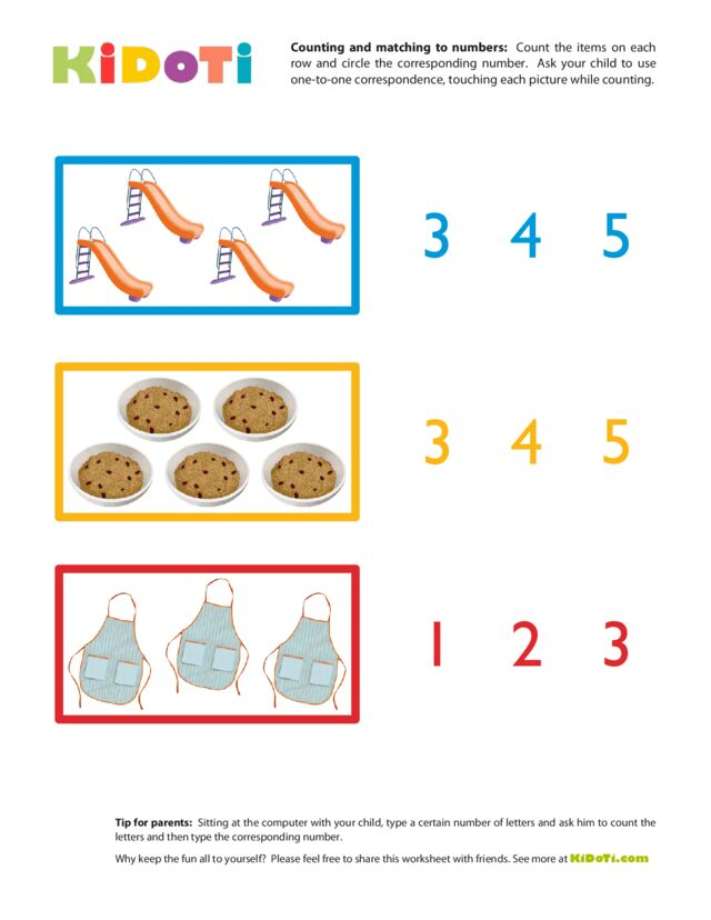 Counting and Matching to Numbers 3