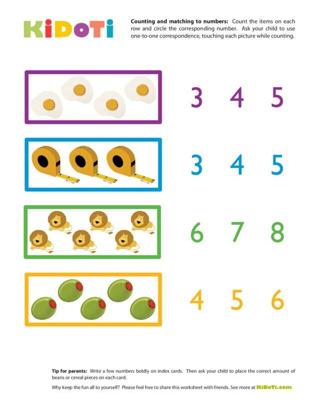 Counting and Matching to Numbers 4