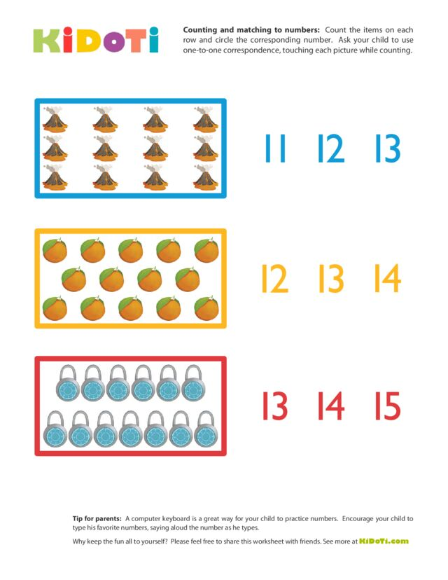 Counting and Matching to Numbers (11-15)