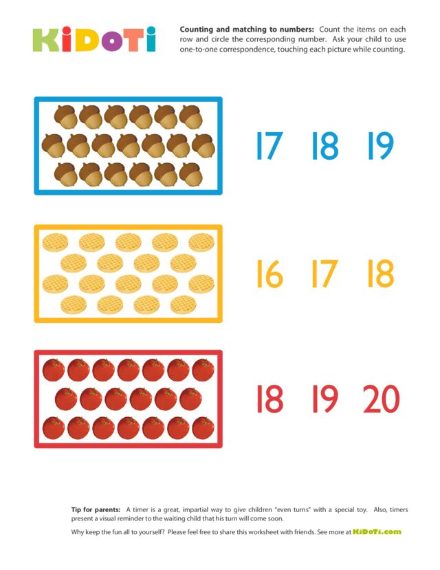 Counting and Matching to Numbers (16-20)