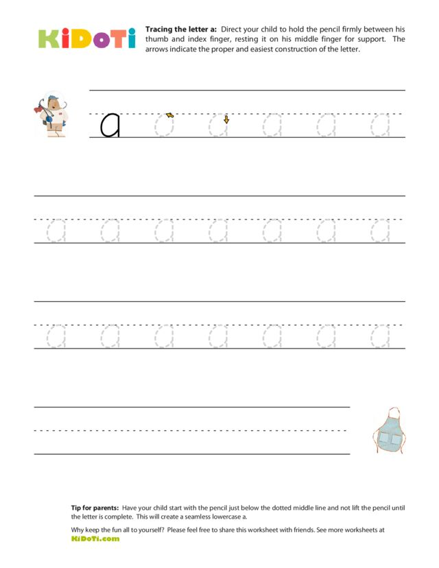 Tracing Lowercase a
