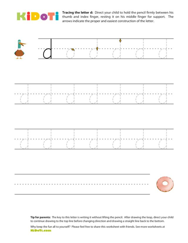 Tracing Lowercase d