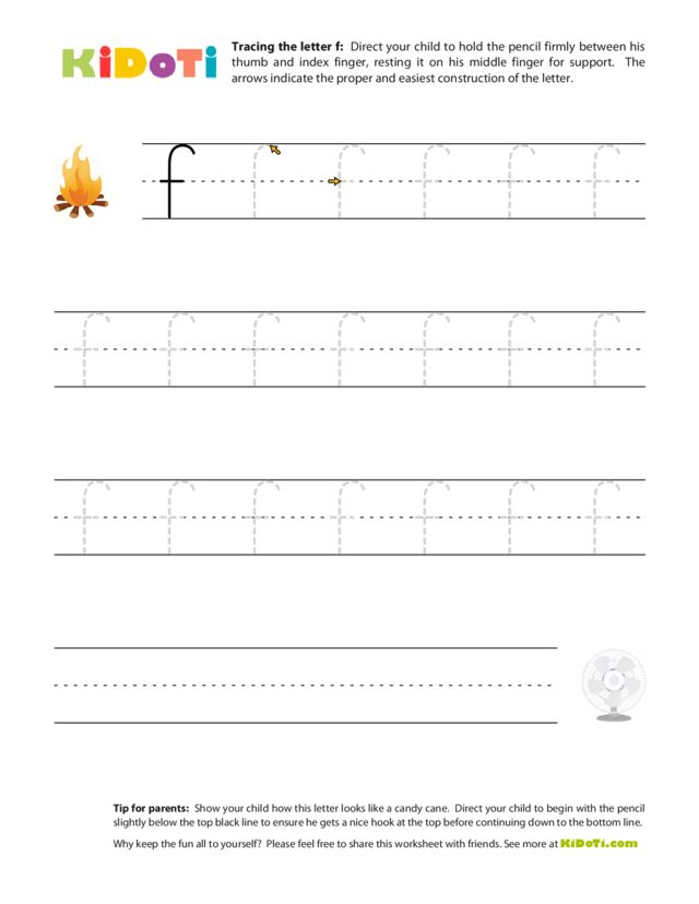 Tracing Lowercase f