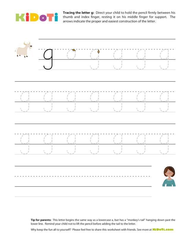 Tracing Lowercase g
