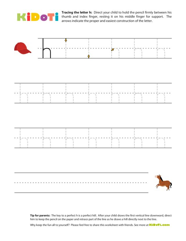 Tracing Lowercase h