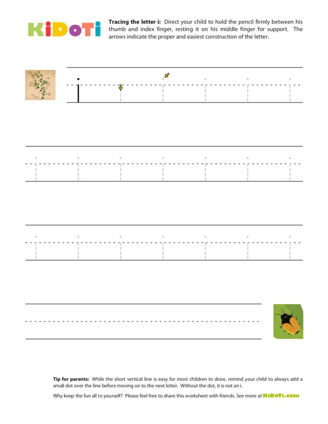 Tracing Lowercase i