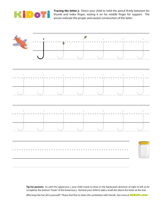 Tracing Lowercase j