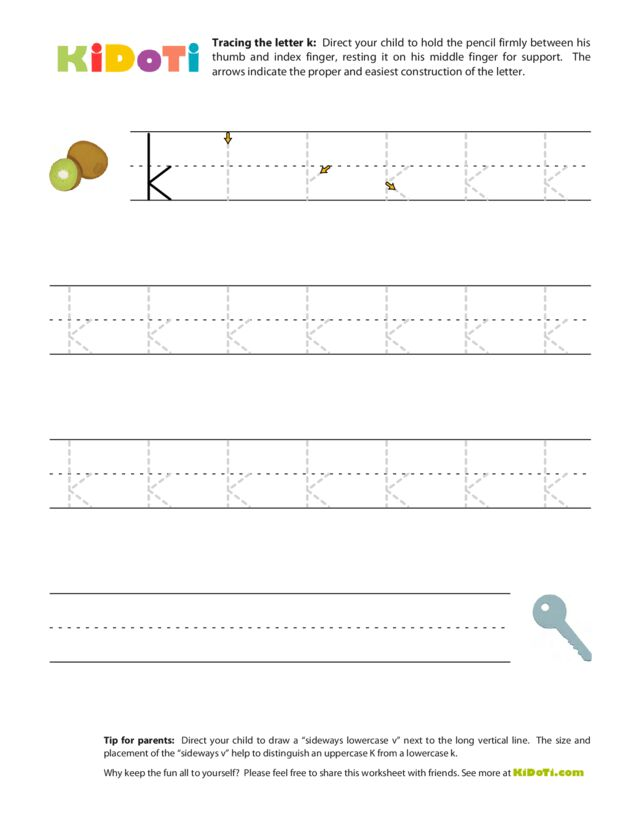 Tracing Lowercase k