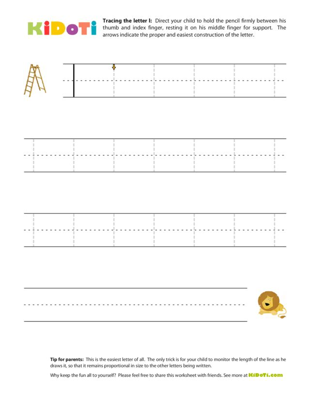 Tracing Lowercase l