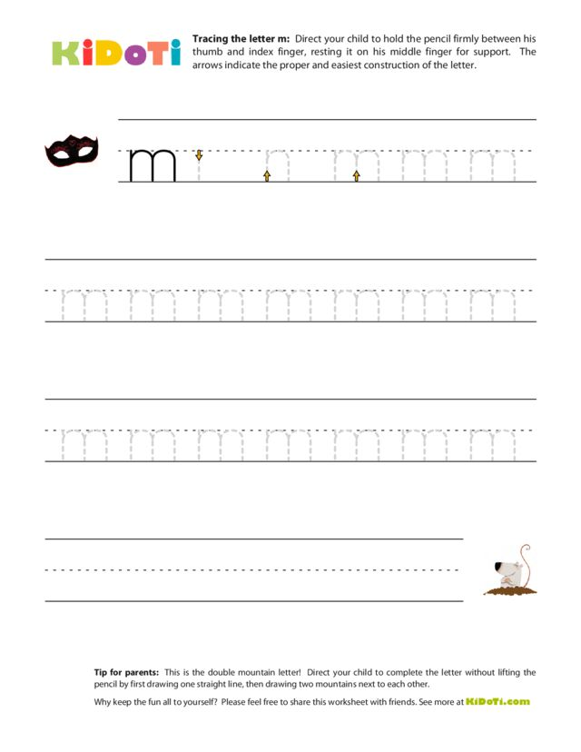 Tracing Lowercase m