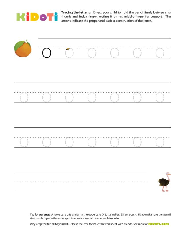 Tracing Lowercase o