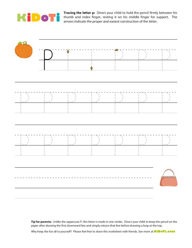 Tracing Lowercase p