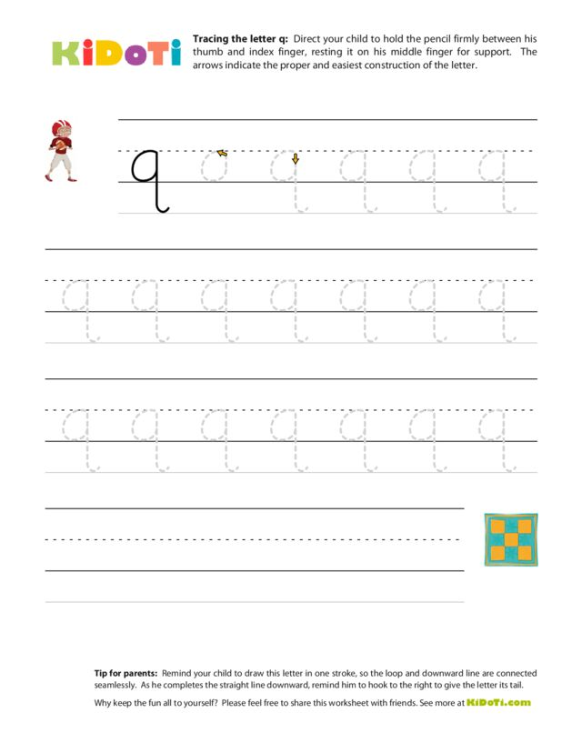 Tracing Lowercase q