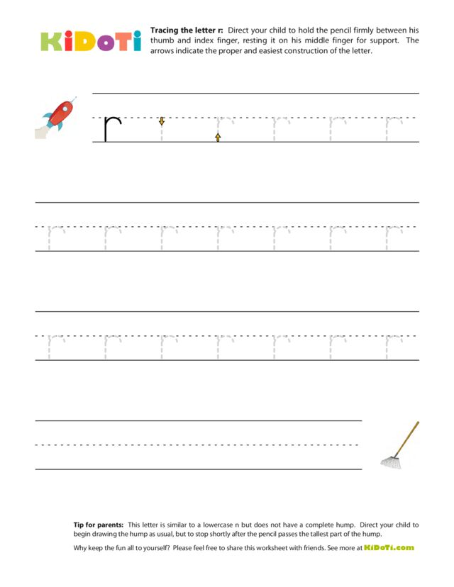 Tracing Lowercase r