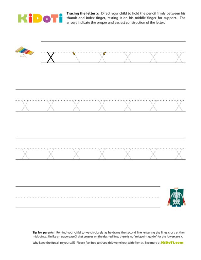 Tracing Lowercase x