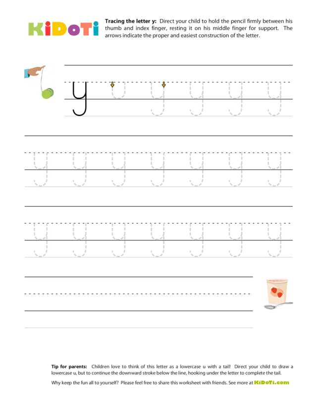 Tracing Lowercase y