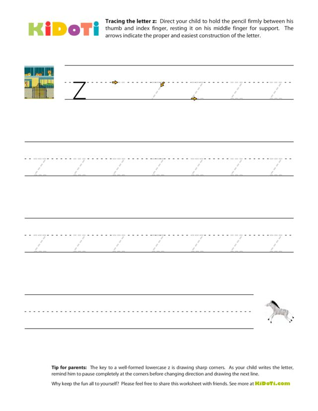 Tracing Lowercase z