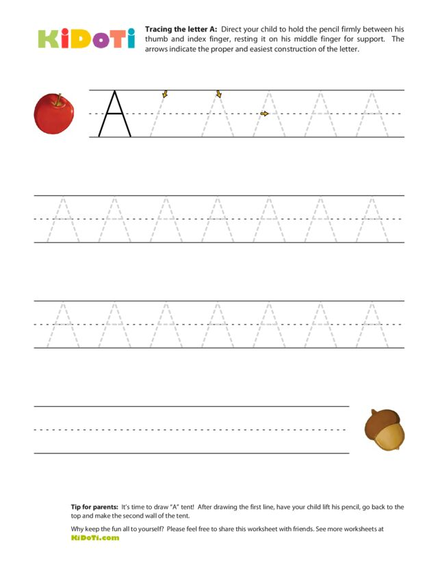 Tracing Uppercase A