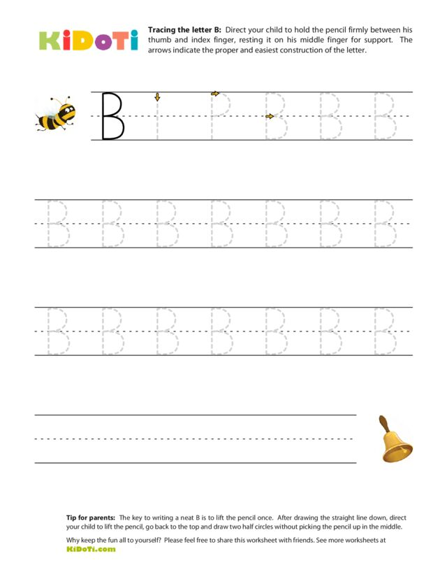 Tracing letter B