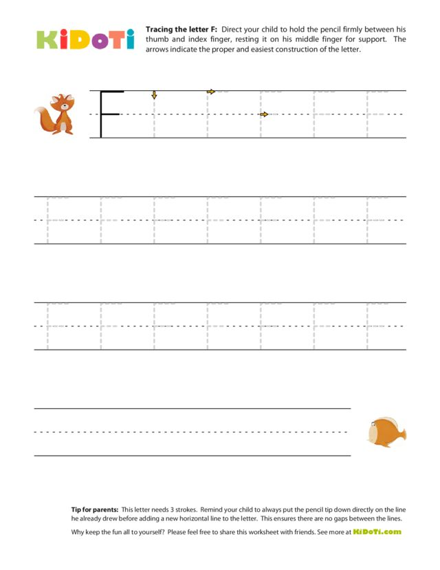 Tracing Uppercase F