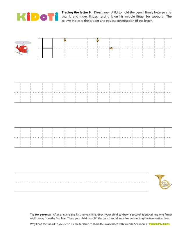 Tracing Uppercase H