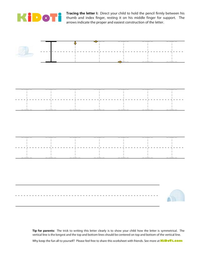 Tracing Uppercase I