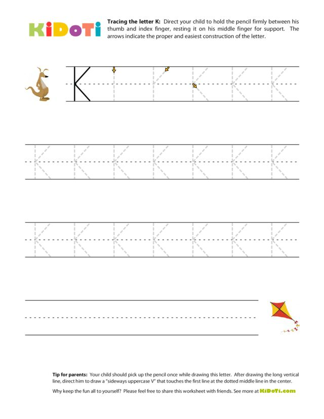 Tracing Uppercase K
