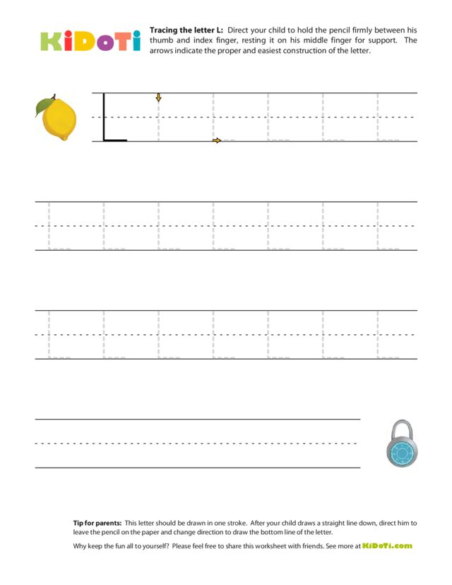 Tracing Uppercase L