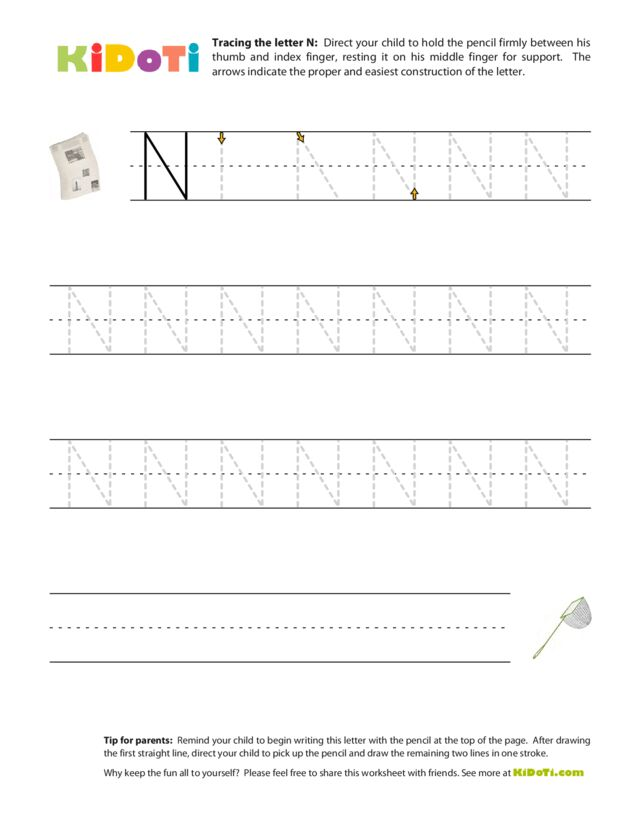 Tracing Uppercase N