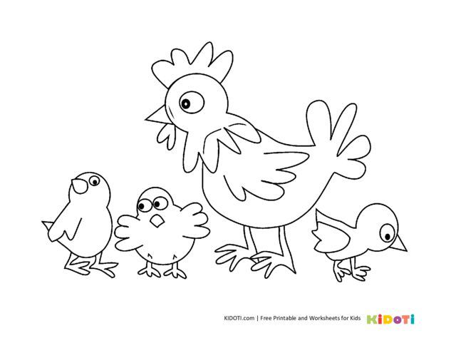 Chicken family coloring page