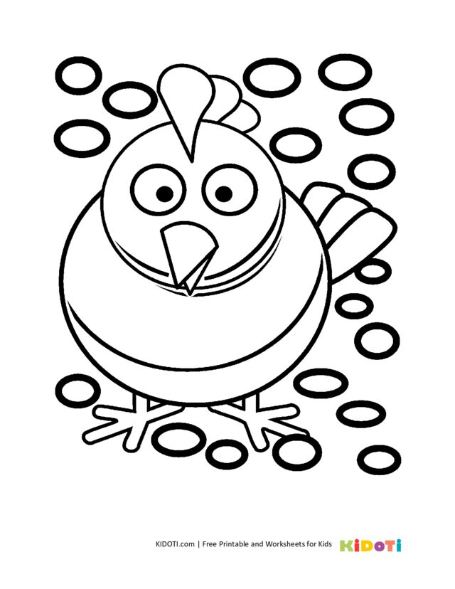 Cute chicken coloring page