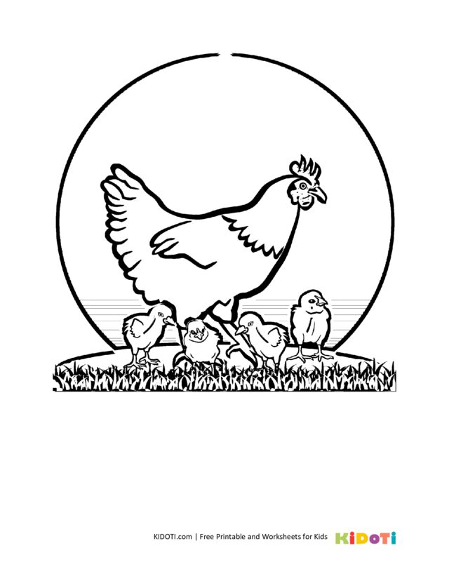 Family chicken coloring page