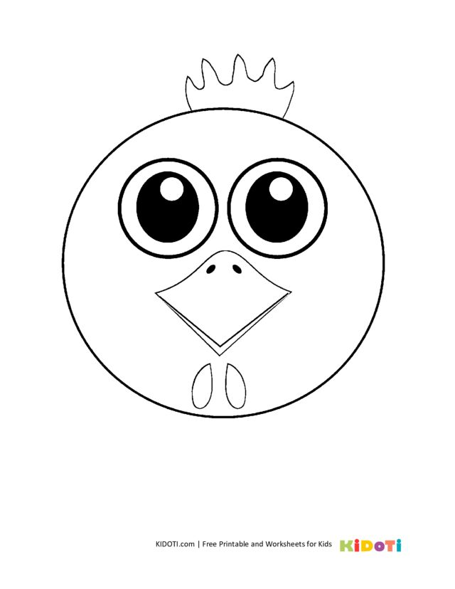 Simple chicken coloring page