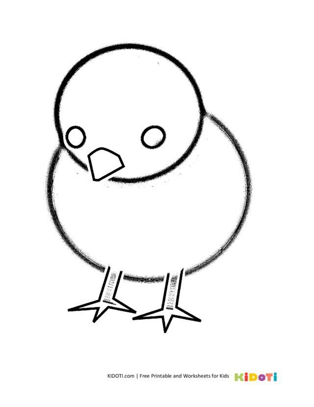 Simple drawing coloring page chicken