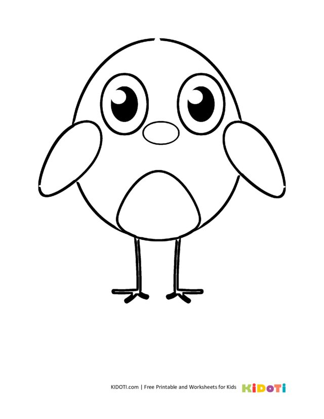 Cute baby chick coloring page