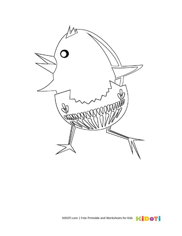 Funny chick coloring page